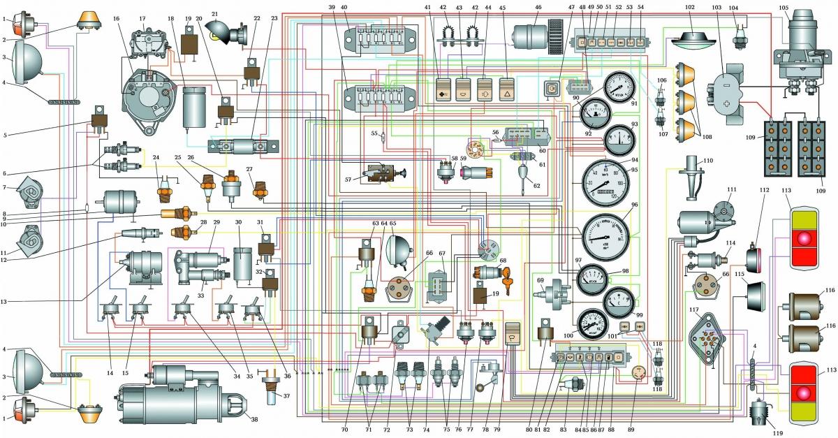 Скачать Цветная схема электрооборудования автомобиля Урал 432.  Кликните на картинку, чтобы увидеть полноразмерную...